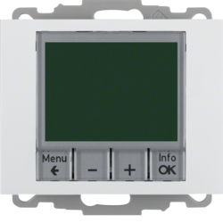 20447109 Thermostat,  NO contact,  with centre plate Time-controlled,  Berker K.1, polar white glossy