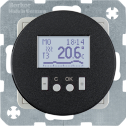 20452045 Thermostat,  NO contact,  with centre plate Time-controlled,  Berker R.1/R.3/R.8, black glossy
