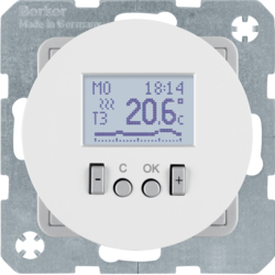 20452089 Thermostat,  NO contact,  with centre plate Time-controlled,  Berker R.1/R.3, polar white glossy