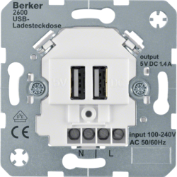 260009 230 V USB charging socket outlet with screw terminals,  Modul-inserts,  polar white matt