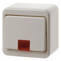 301640 Control change-over switch surface-mounted with red lens,  Surface-mounted,  white