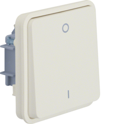 "30423512 On/off switch insert 2pole with rocker and imprint ""0"" und ""1"" surface-mounted/flush-mounted Berker W.1, polar white matt"