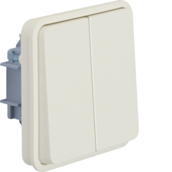 30553512 Series switch insert with rocker 2gang surface-mounted/flush-mounted,  common input terminal Berker W.1, polar white matt