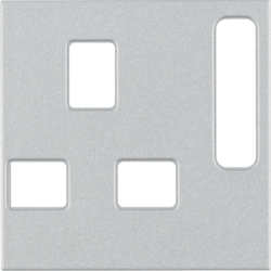 3313071404 Centre plate for socket outlets,  British Standard,  can be switched off Berker S.1/B.3/B.7, aluminium matt,  lacquered