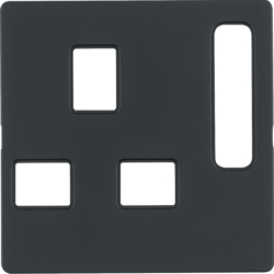 3313076086 Centre plate for socket outlets,  British Standard,  can be switched off Berker Q.1/Q.3/Q.7/Q.9, anthracite velvety