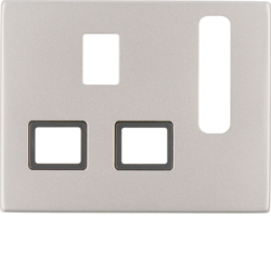 3313077004 Centre plate for socket outlets,  British Standard,  can be switched off Berker K.5, stainless steel matt,  lacquered