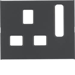 3313077006 Centre plate for socket outlets,  British Standard,  can be switched off Berker K.1, anthracite matt,  lacquered