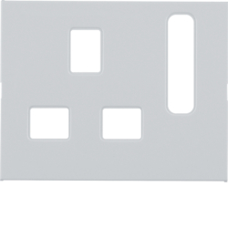 3313077009 Centre plate for socket outlets,  British Standard,  can be switched off Berker K.1, polar white glossy