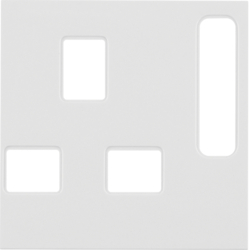 3313078989 Centre plate for socket outlets,  British Standard,  can be switched off Berker S.1/B.3/B.7, polar white glossy