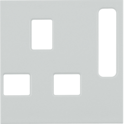 3313079909 Centre plate for socket outlets,  British Standard,  can be switched off Berker S.1/B.3/B.7, polar white matt