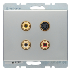 3315329004 3 x Cinch/S-Video socket outlet Berker Arsys,  stainless steel matt,  lacquered