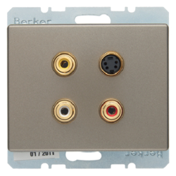 3315329011 3 x Cinch/S-Video socket outlet Berker Arsys,  light bronze matt,  lacquered