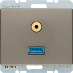 3315399011 USB/3.5 mm audio socket outlet Berker Arsys,  light bronze matt,  lacquered