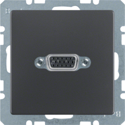 3315416086 VGA socket outlet with screw-in lift terminals,  Berker Q.1/Q.3/Q.7/Q.9, anthracite velvety,  lacquered
