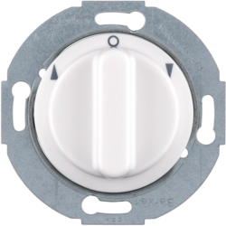 3812 Rotary switch for blinds 2pole with centre plate Rotary knobs,  Serie 1930/Glas,  polar white glossy