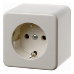 40009930 SCHUKO socket outlet surface-mounted with enhanced touch protection,  Screw terminals,  Surface-mounted,  white glossy