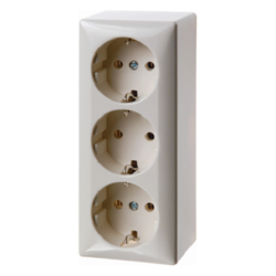 4040 3gang SCHUKO socket outlet,  surface-mounted with screw terminals,  Surface-mounted,  white glossy