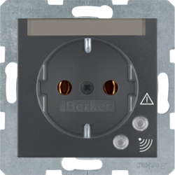 41081606 SCHUKO socket outlet with overvoltage protection with labelling field,  Screw terminals,  anthracite,  matt