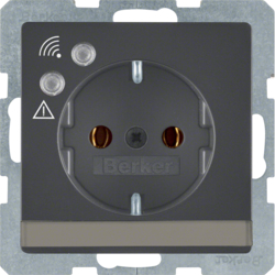 41086086 SCHUKO socket outlet with overvoltage protection with labelling field,  Screw terminals,  anthracite velvety,  lacquered