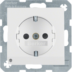 41091909 SCHUKO socket outlet with LED orientation light enhanced contact protection,  Screw-in lift terminals,  Berker S.1/B.3/B.7, polar white matt
