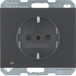 41097006 SCHUKO socket outlet with LED orientation light enhanced contact protection,  Screw-in lift terminals,  Berker K.1, anthracite matt,  lacquered