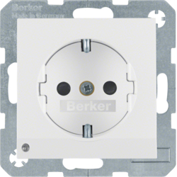 41098989 SCHUKO socket outlet with LED orientation light enhanced contact protection,  with screw-in lift terminals,  Berker S.1/B.3/B.7, polar white glossy
