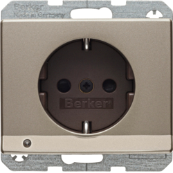41099011 SCHUKO socket outlet with LED orientation light enhanced contact protection,  Screw-in lift terminals,  Berker Arsys,  light bronze,  lacquered