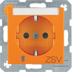"41101914 SCHUKO socket outlet with control LED and ""ZSV"" imprint with labelling field,  enhanced contact protection,  Screw-in lift terminals,  Berker S.1/B.3/B.7, orange matt"