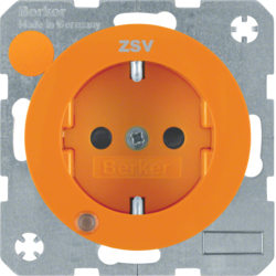 "41102007 SCHUKO socket outlet with control LED and ""ZSV"" imprint with labelling field,  enhanced contact protection,  Screw-in lift terminals,  Berker R.1/R.3/R.8, orange glossy"
