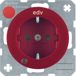 "41102022 SCHUKO socket outlet with control LED and ""EDV"" imprint with labelling field,  enhanced contact protection,  Screw-in lift terminals,  Berker R.1/R.3, red glossy"