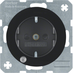 41102045 SCHUKO socket outlet with control LED with labelling field,  enhanced contact protection,  Screw-in lift terminals,  Berker R.1/R.3/R.8, black glossy