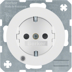 41102089 SCHUKO socket outlet with control LED with labelling field,  enhanced contact protection,  Screw-in lift terminals,  Berker R.1/R.3, polar white glossy