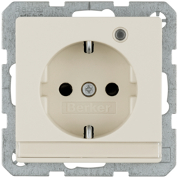 41106082 SCHUKO socket outlet with control LED with labelling field,  enhanced contact protection,  Screw-in lift terminals,  Berker Q.1/Q.3