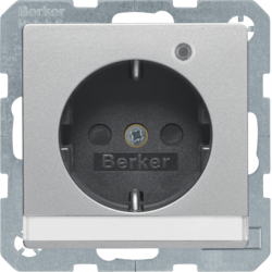 41106084 SCHUKO socket outlet with control LED with labelling field,  enhanced contact protection,  Screw-in lift terminals,  Berker Q.1/Q.3