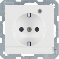 41106089 SCHUKO socket outlet with control LED with labelling field,  enhanced contact protection,  Screw-in lift terminals,  Berker Q.1/Q.3/Q.7/Q.9, polar white velvety