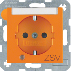 "41108914 SCHUKO socket outlet with control LED and ""ZSV"" imprint with labelling field,  enhanced contact protection,  Screw-in lift terminals,  Berker S.1/B.3/B.7, orange glossy"