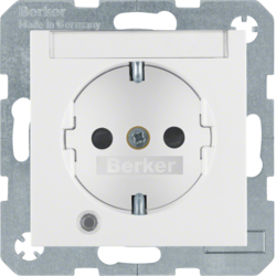 41108989 SCHUKO socket outlet with control LED with labelling field,  enhanced contact protection,  Screw-in lift terminals,  Berker S.1/B.3/B.7, polar white glossy