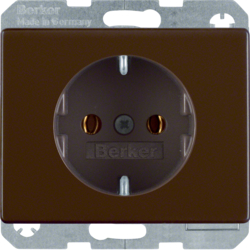 41150001 SCHUKO socket outlet with screw-in lift terminals,  Berker Arsys,  brown glossy
