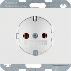 41157009 SCHUKO socket outlet with screw-in lift terminals,  Berker K.1, polar white glossy