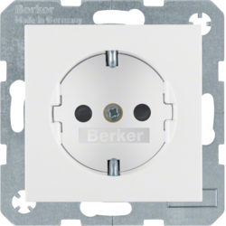 41231909 SCHUKO socket outlet with enhanced touch protection,  with screw-in lift terminals,  Berker S.1/B.3/B.7, polar white matt