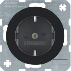 41232045 SCHUKO socket outlet with enhanced touch protection,  with screw-in lift terminals,  Berker R.1/R.3/R.8, black glossy