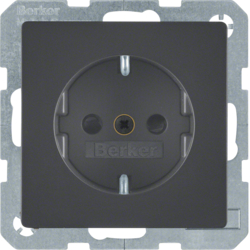 41236086 SCHUKO socket outlet with enhanced touch protection,  with screw-in lift terminals,  Berker Q.1/Q.3, anthracite velvety,  lacquered