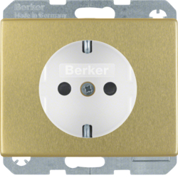 41340002 SCHUKO socket outlet with enhanced touch protection,  Screw-in lift terminals,  Berker Arsys,  gold matt,  aluminium anodised