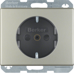 41340004 SCHUKO socket outlet with enhanced touch protection,  Screw-in lift terminals,  Berker Arsys,  stainless steel,  metal matt finish