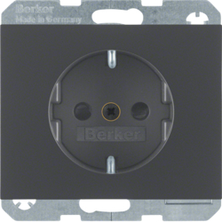 41357006 SCHUKO socket outlet with enhanced touch protection,  Screw-in lift terminals,  Berker K.1, anthracite matt,  lacquered