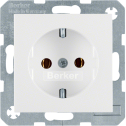 41431909 SCHUKO socket outlet with screw-in lift terminals,  Berker S.1/B.3/B.7, polar white matt