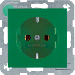 41431913 SCHUKO socket outlet with screw-in lift terminals,  Berker S.1/B.3/B.7, green matt