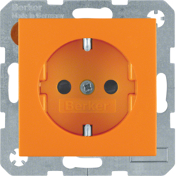 41431914 SCHUKO socket outlet with screw-in lift terminals,  Berker S.1/B.3/B.7, orange matt