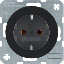 41432045 SCHUKO socket outlet with screw-in lift terminals,  Berker R.1/R.3, black glossy