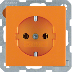 41436014 SCHUKO socket outlet with screw-in lift terminals,  orange velvety
